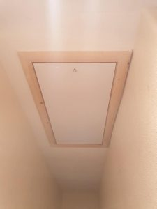 Large swing down loft hatch