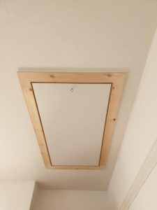 Large loft hatch ready for timber loft ladder